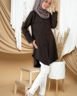 Amisya Long Blouse - dark brown