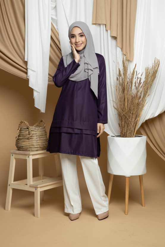 Adana Long Blouse - Dark Purple